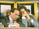 Veltroni Walter e Silvio Berlusconi (P2) spalla a spalla, alla Festa de l'Unità di Milano nel 1986 in un atteggiamento inequivocabile